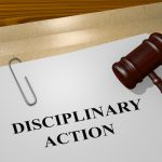 3D illustration of 'DISCIPLINARY ACTION' title on legal document